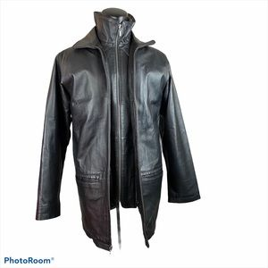 CHEROKEE Long Leather Jacket Black Zip Up Faux Fur